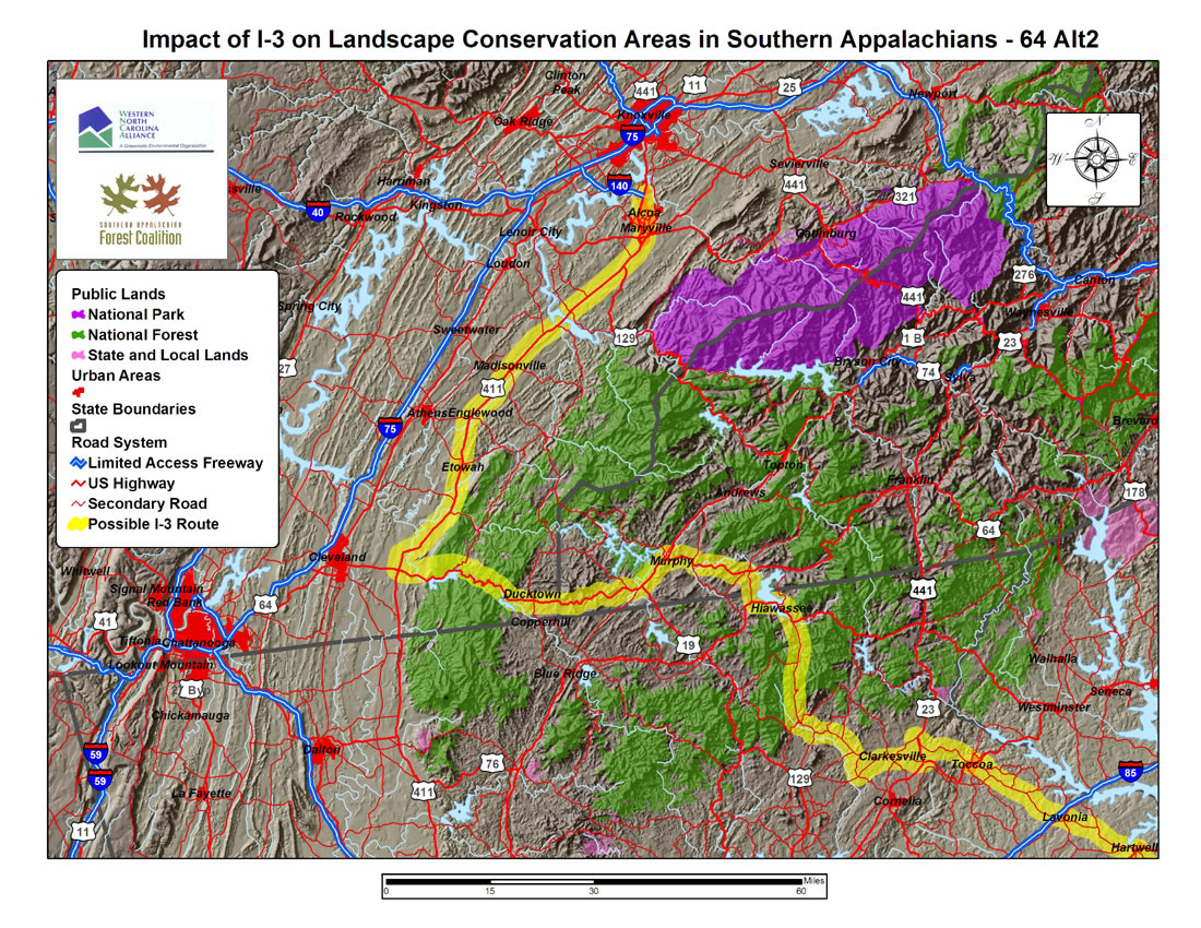 impact of i 3 on landscape conservation areas in southern appalachians us 64 alt