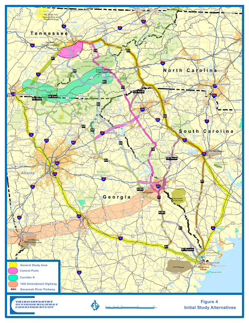 Potential I Routes As Of May   WaysSouth - Map of atlanta bypass